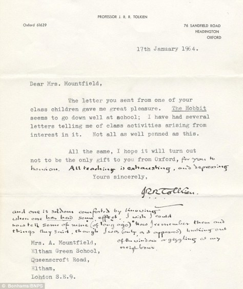A carta recém-descoberta de J.R.R. Tolkien, janeiro de 1964