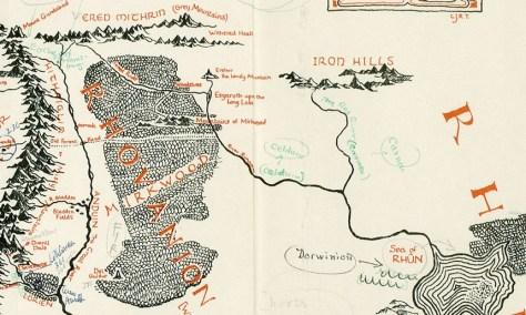 Mapa anotado por Tolkien encontrado nos pertences de Pauline Baynes