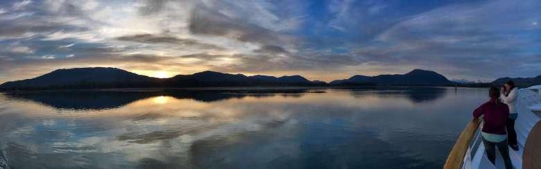UnCruise Alaska Review - Sunset in Wrangell Narrows