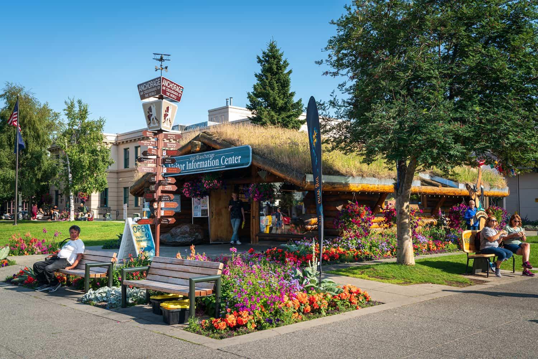 Visit Anchorage Information Center Log Cabin
