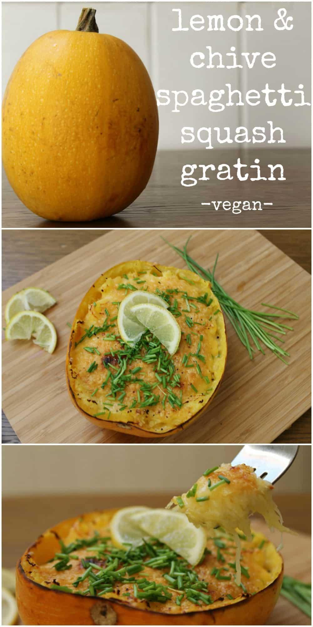 Lemon & Chive spaghetti squash gratin