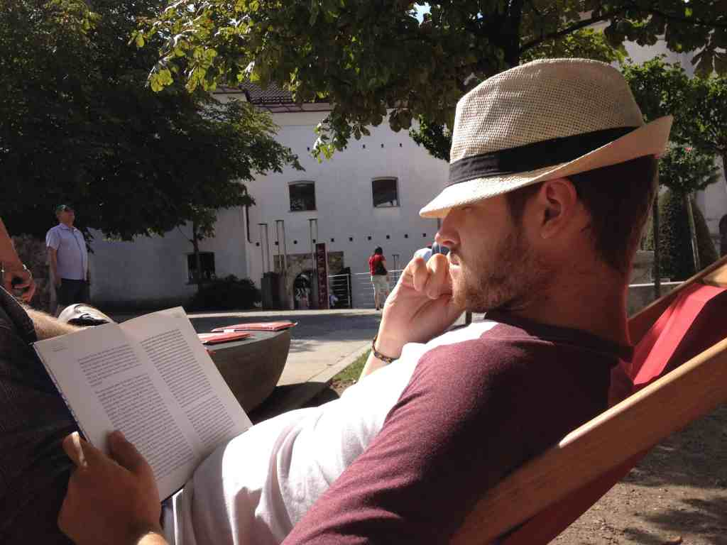 reading a good book at Ljubljana's castle