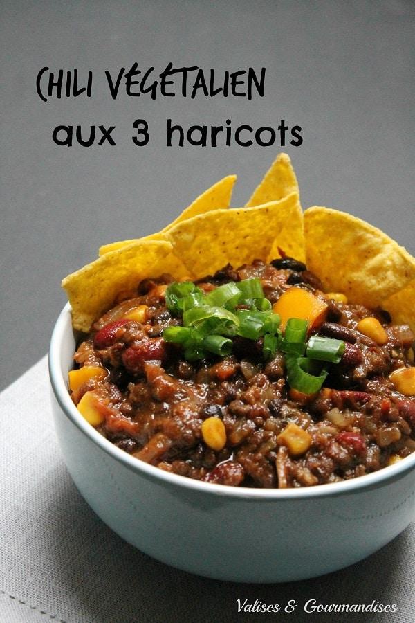 chili végétalien aux 3 haricots - Valises & Gourmandises