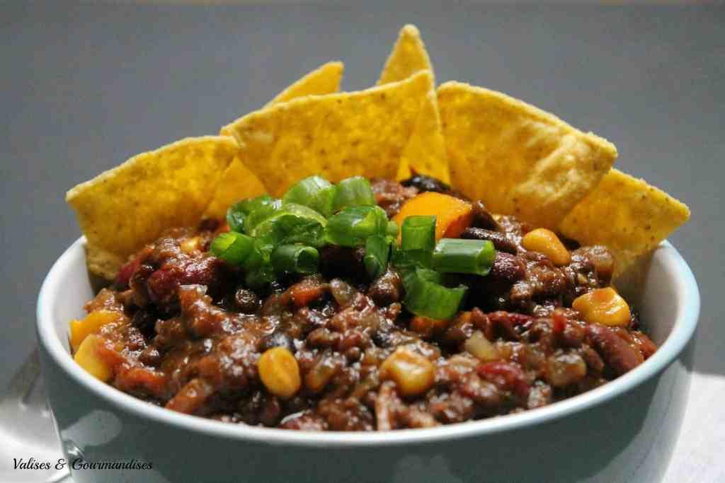 chili végane aux 3 haricots