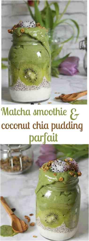vegan matcha smoothie & coconut chia pudding breakfast jar