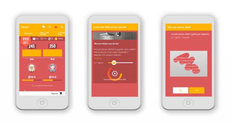 Alcuni screenshots dell'App Desire