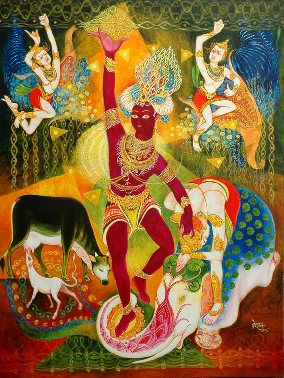 Indra Garvabhangam, acrylic on canvas, 2005 Keshav