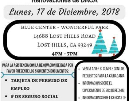 Taller de Ciudadanía y Renovación de DACA en Lost Hills 17 de Diciembre 2018