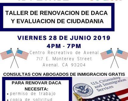 Taller de Renovación de DACA y Evaluación de Ciudadanía en Avenal CVIIC