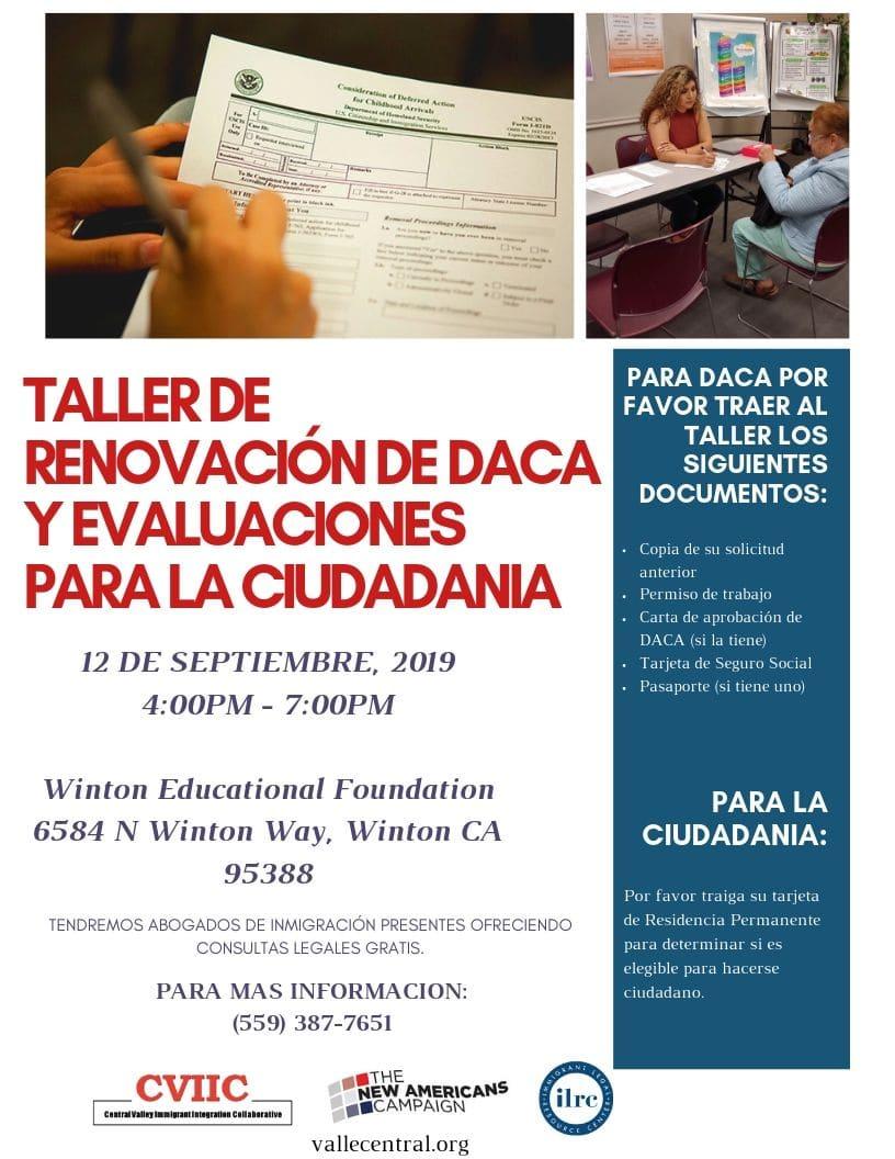 Taller de Ciudadanía y Renovación de DACA en Winton 12 Septiembre 2019 CVIIC