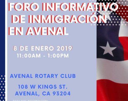 Foro Informativo de Inmigración en Avenal 8 Enero 2020 CVIIC