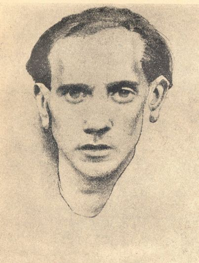 Dibujo retrato del poeta rumano Max Blecher.