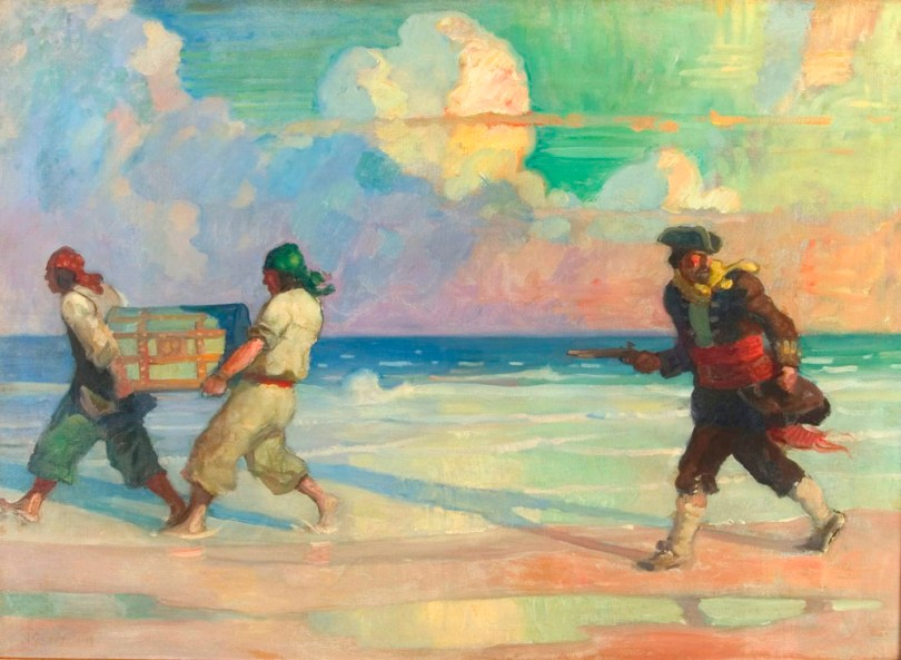 A more colorful scene of Pirates carrying a treasure chest and a gun from