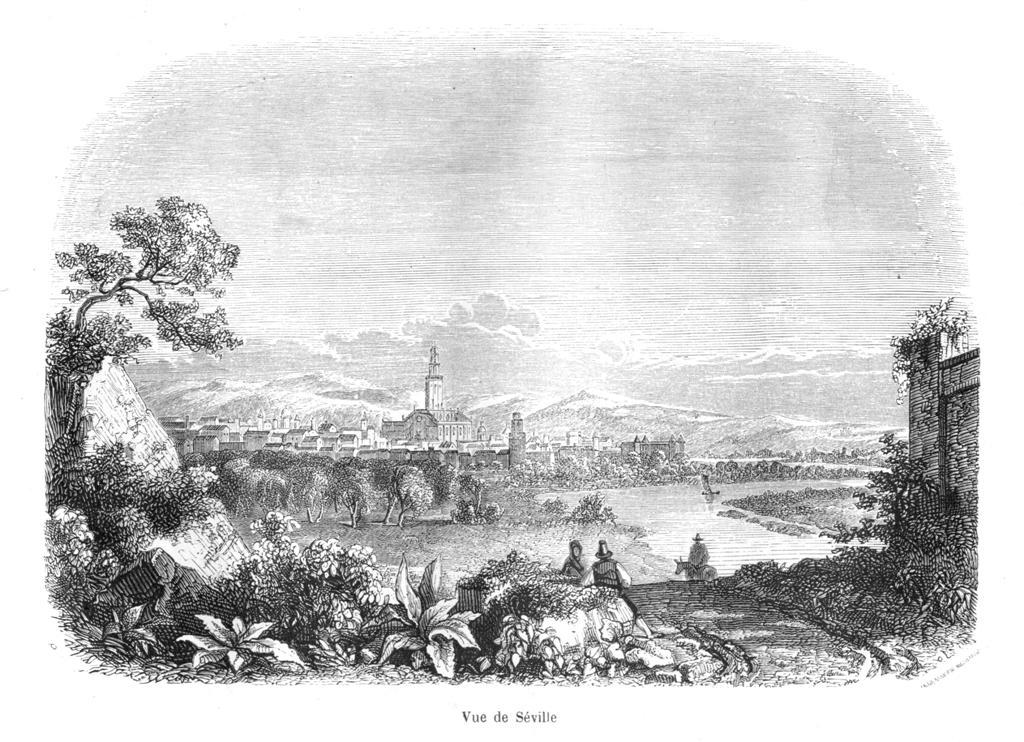 Vista de Sevilla. ILUSTRACIONES  de la INQUISICIÓN      MYSTÈRES DE L´INQUISITION ET AUTRES SOCIÉTÉS SECRÉTES D´ESPAGNE  par  M. V. DE FÉRÉAL, PARIS 1845