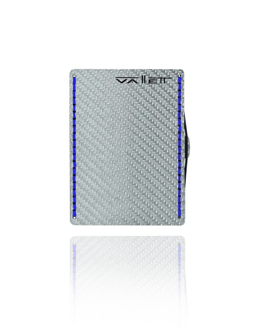 Vallett Carbon Fiber Wallet - Blue Stitching