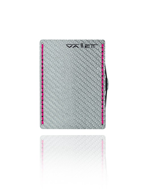 Vallett Carbon Fiber Wallet - Neon Pink Stitching