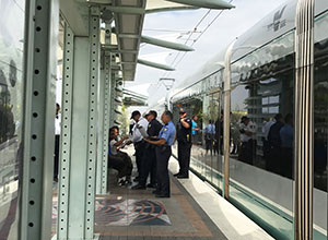 Phoenix PD and light rail fare inspectors conduct random sweep to remove riders who are riding train without valid fare.