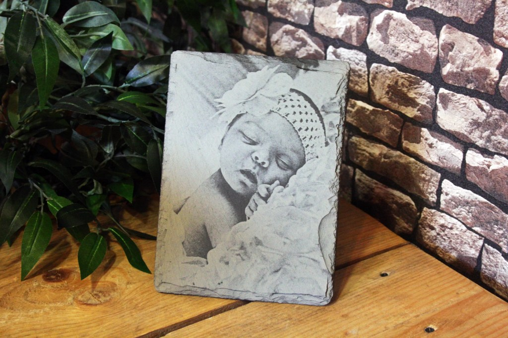 Small Welsh Slate Father's Day Photograph Engraving