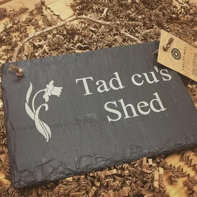 Personalised Welsh Slate Father's Day Hanging Sign