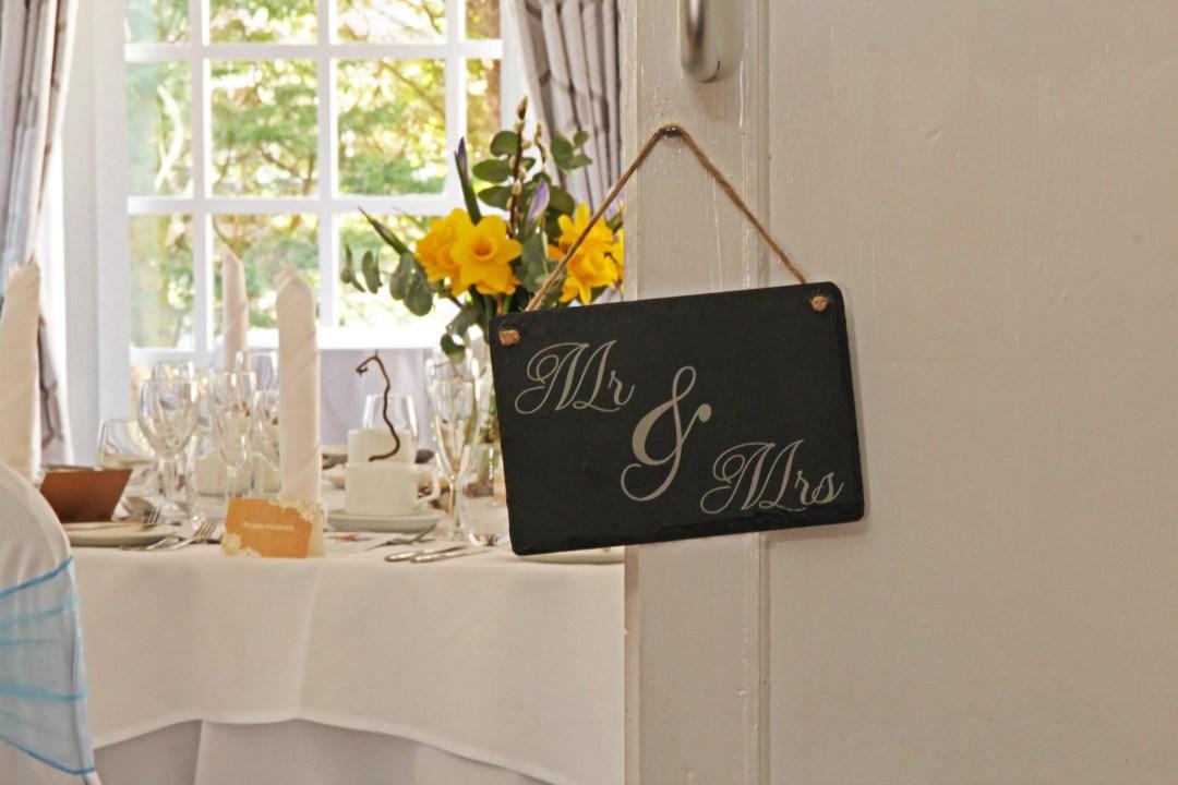 'Mr & Mrs' Welsh Slate Hanging Sign