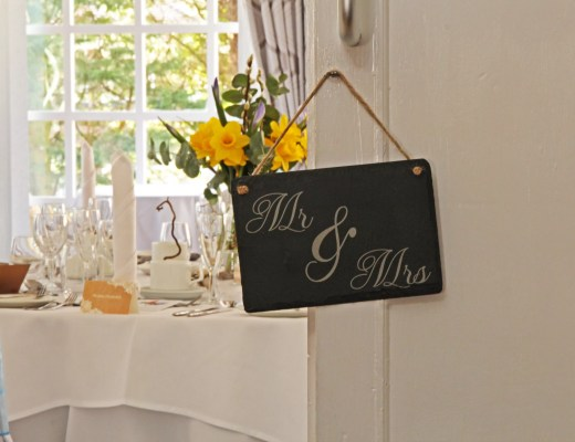 'Mr & Mrs' Welsh Slate Hanging Sign