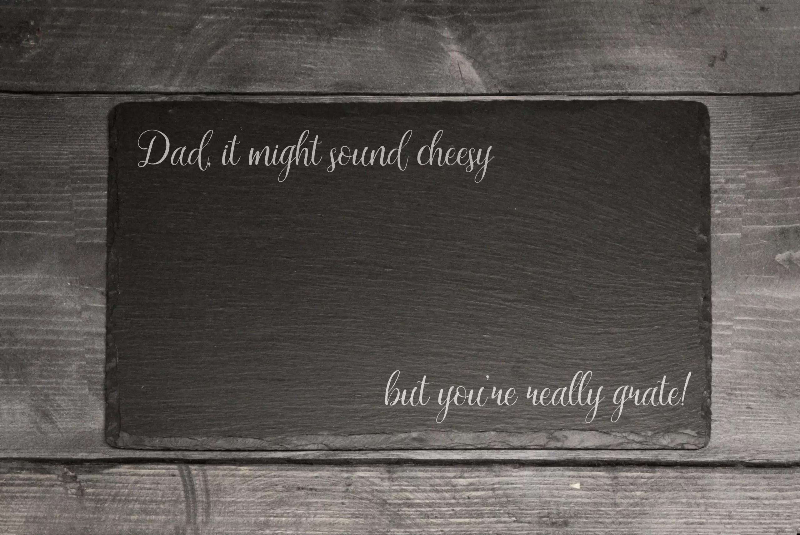 Father's Day Dad joke Welsh slate cheese board