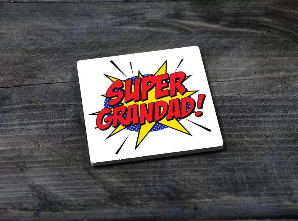 Super Grandad square ceramic Father's day coaster