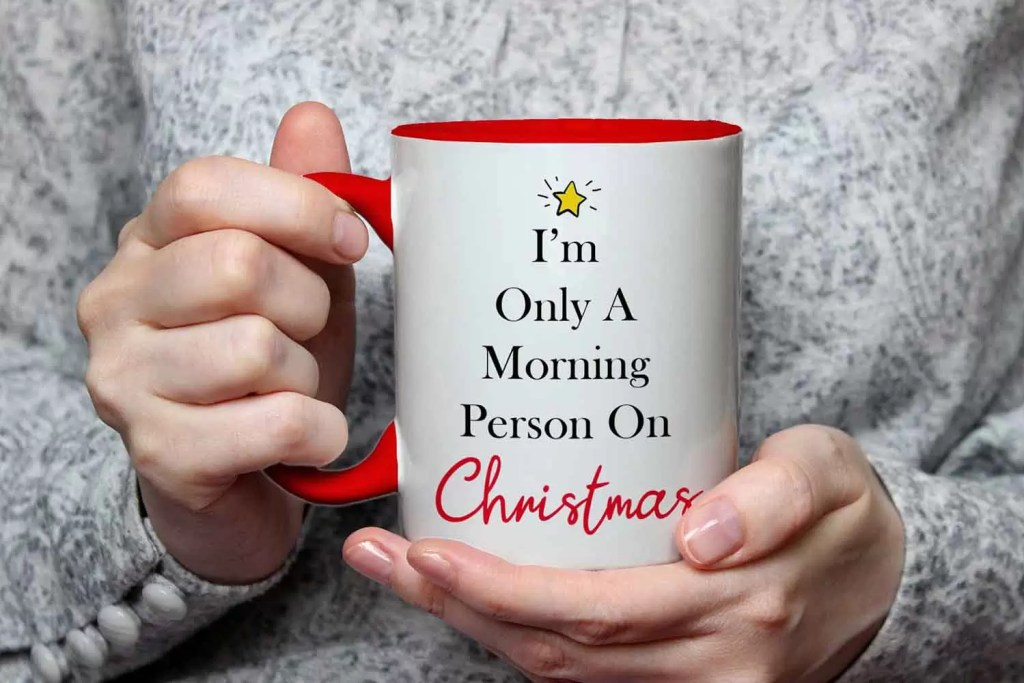 I'm Only A Morning Person On Christmas Red Ceramic Mug