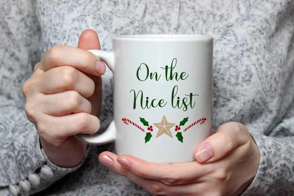 On The Nice List Christmas Ceramic Mug