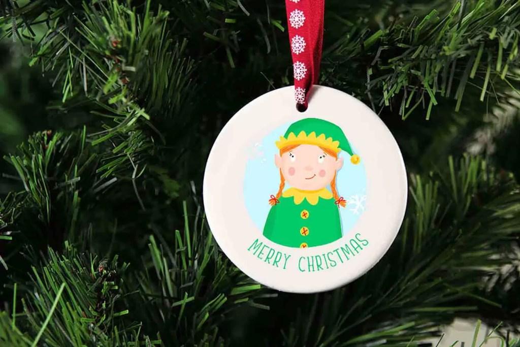 Girl Elf Merry Christmas Ceramic Christmas Tree Decoration