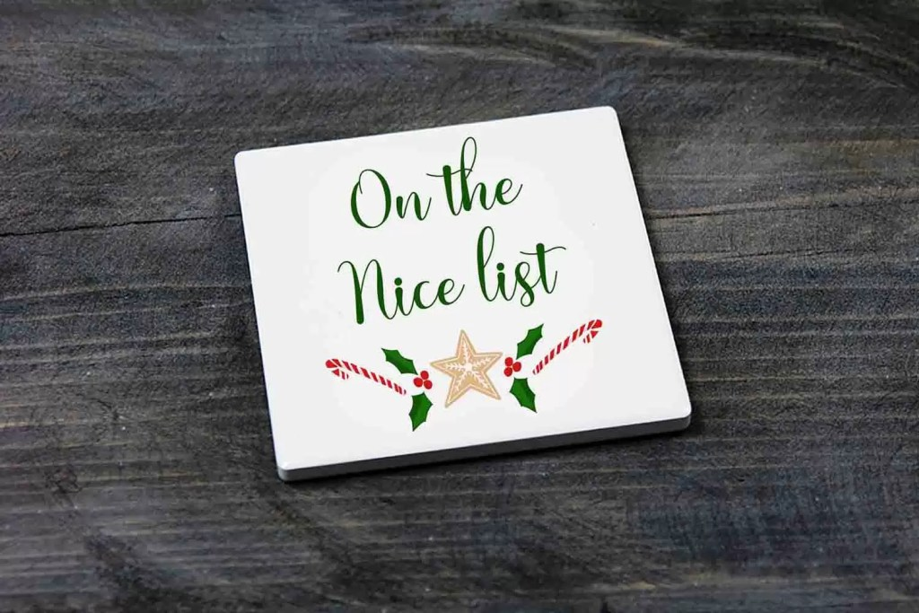 On The Nice List Novelty Christmas Ceramic Coaster Gift