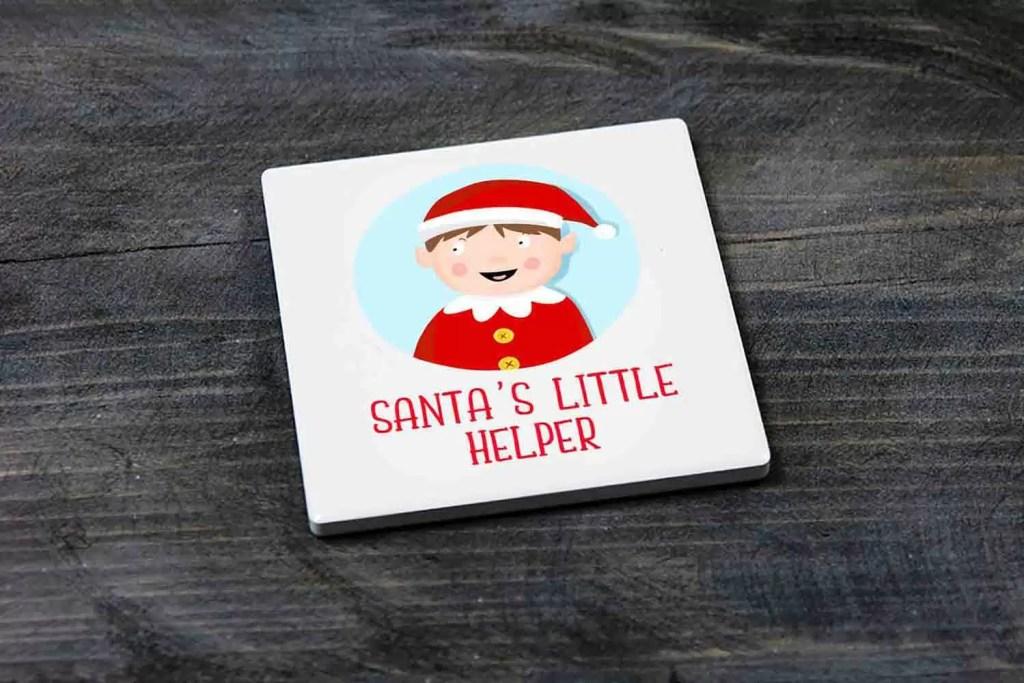 Santa's Little Helper Boy Elf Christmas Coaster Gift for Children