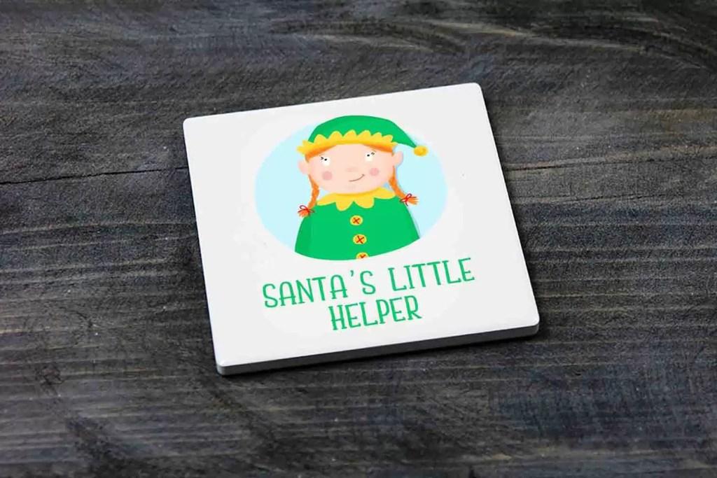 Santa's Little Helper Girl Elf Christmas Coaster Gift for Children