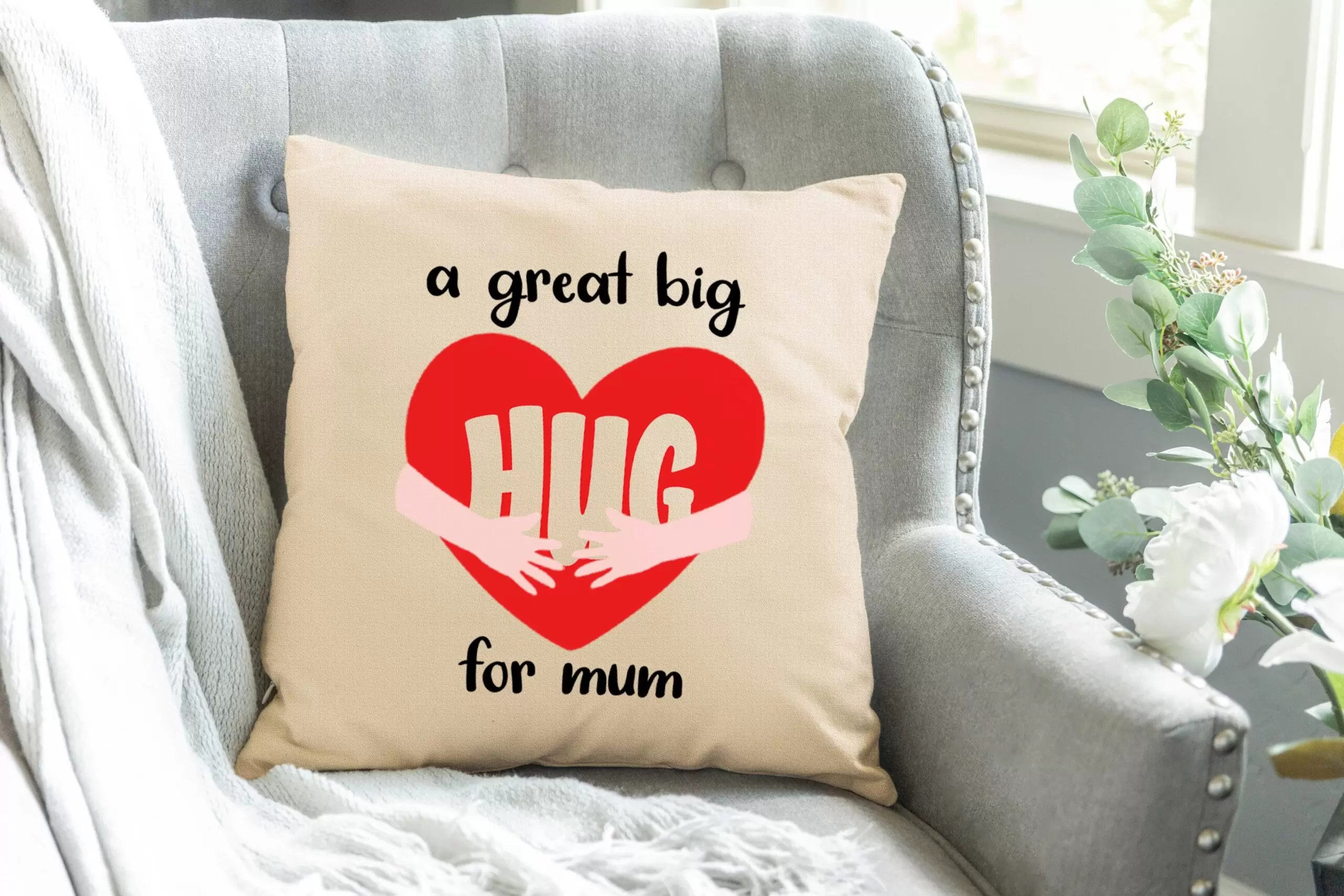 A Great Big Hug For Mum Mother's Day Linen Cushion