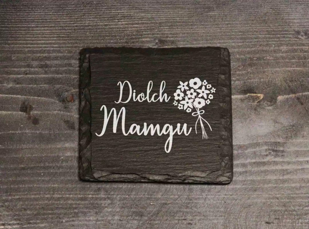 Diolch Mamgu Welsh Slate Coaster Mother's Day Gift