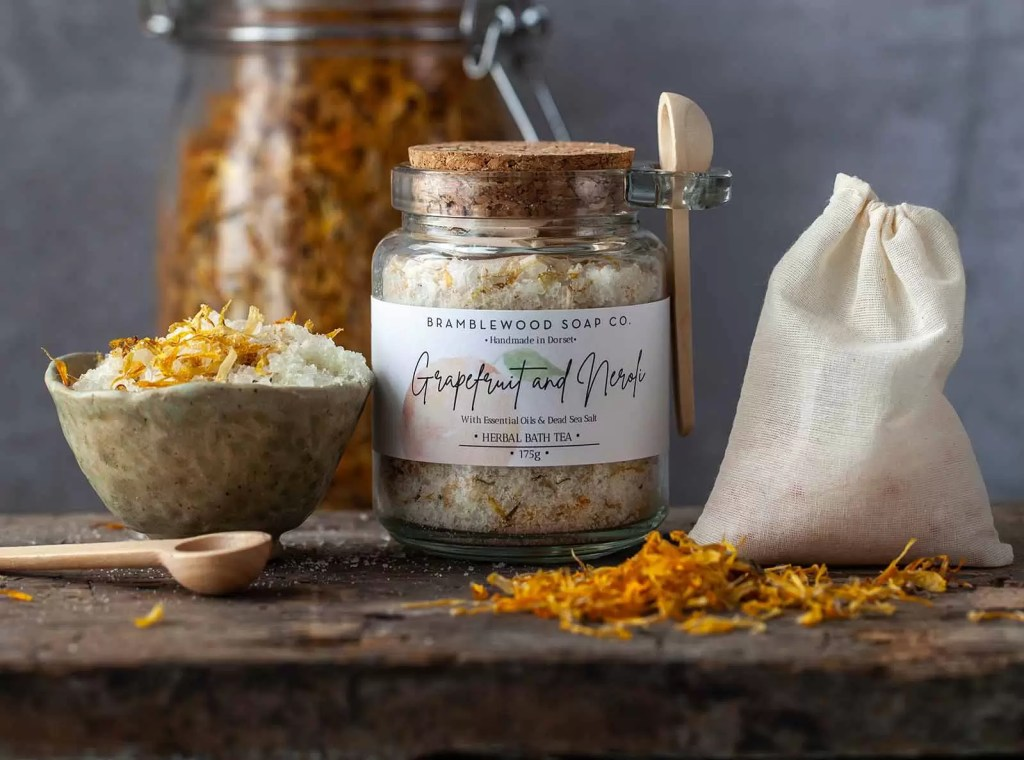 Handmade in Dorset, award-winning BrambleWood Soap Co uses a thoughtful combination of salts, dried botanicals and essential oils to create their Botanical Bloom bath tea that can aid in relieving muscular aches and pains and relaxation.