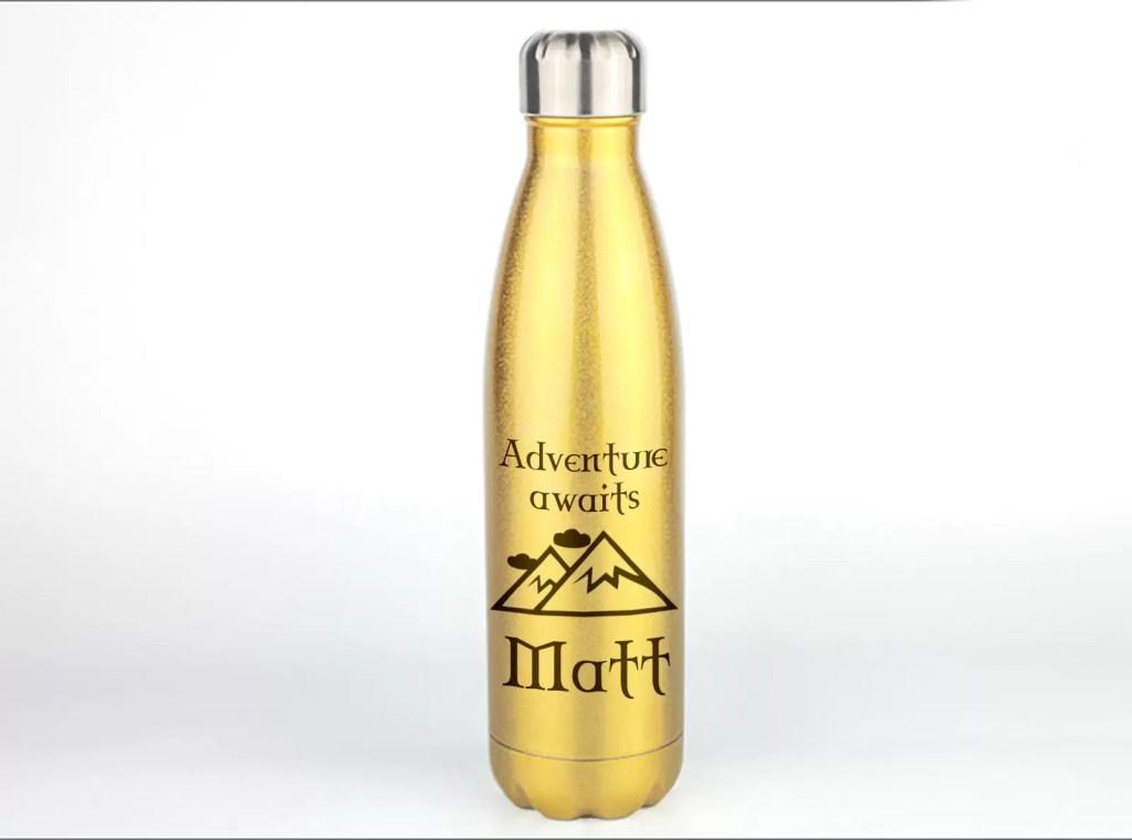 Gold Glitter Personalised Metal Water Bottle
