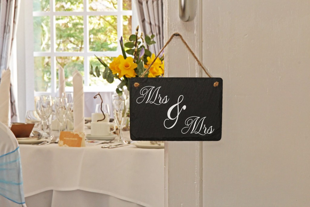 Beautiful Welsh slate hanging sign which has been personalised with Mrs and Mrs