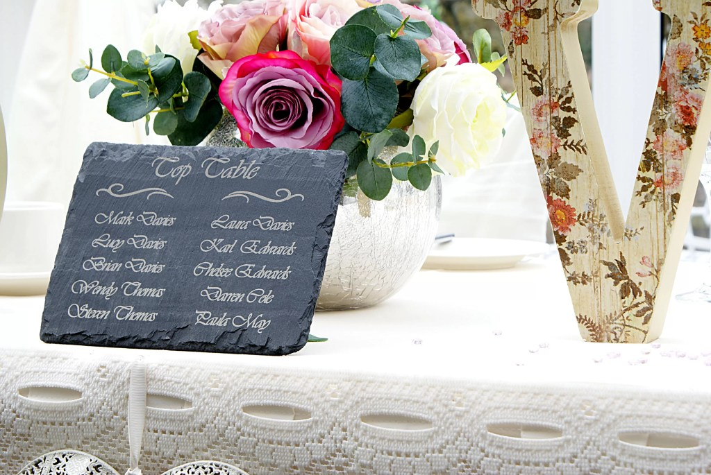 Personalised and engraved top table Welsh slate table setting for a wedding