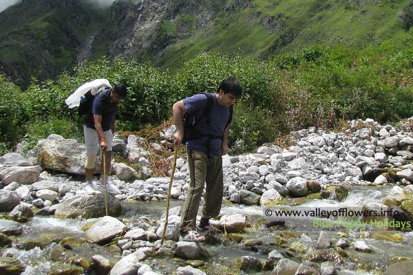 Crossing streams in Valley of Flowers