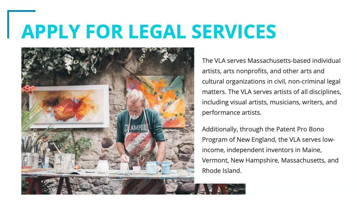 Volunteer Lawyers for the Arts Webpage Screenshot.
