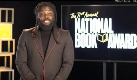 A screenshot from the National Book Awards 2020, featuring host, Jason Reynolds
