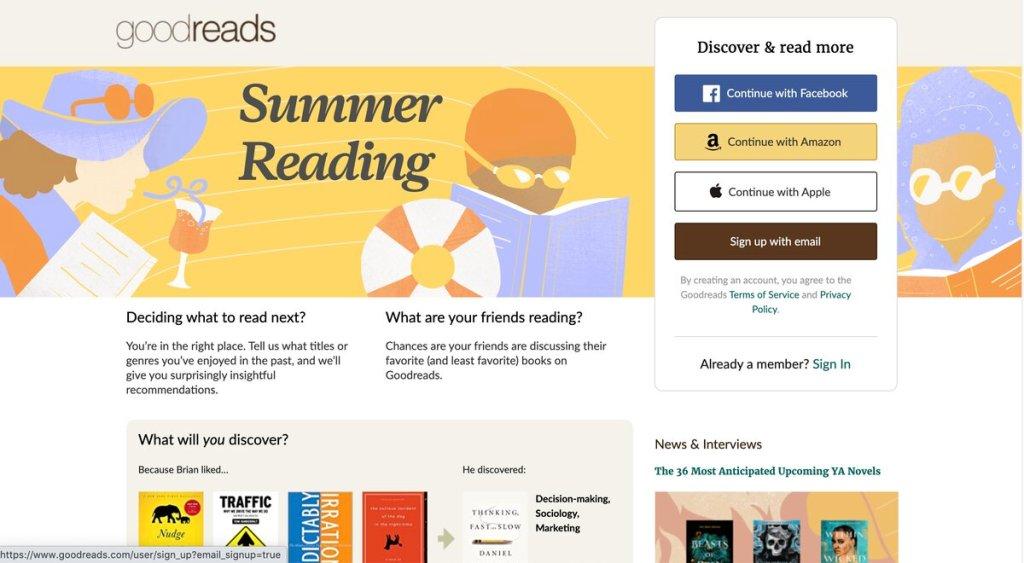 Goodreads website screenshot