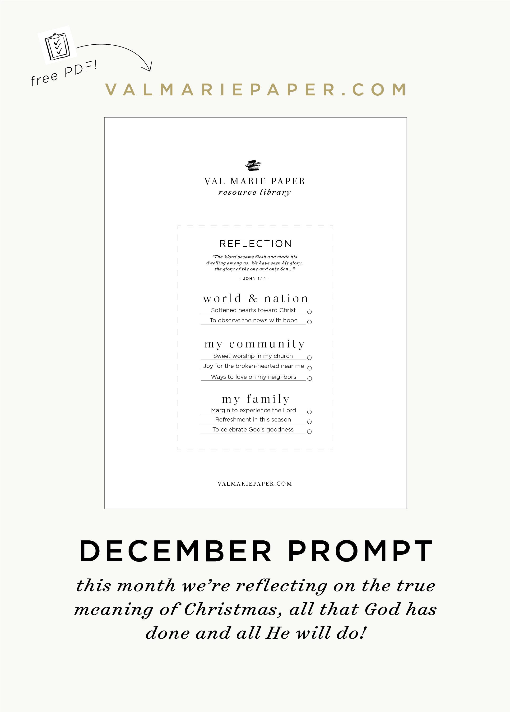 December Worksheet Val Marie Paper