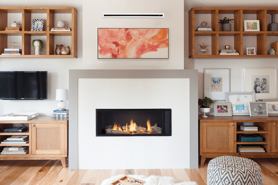 L1 Linear Series with Driftwood, 1 inch surround and the HeatShift System