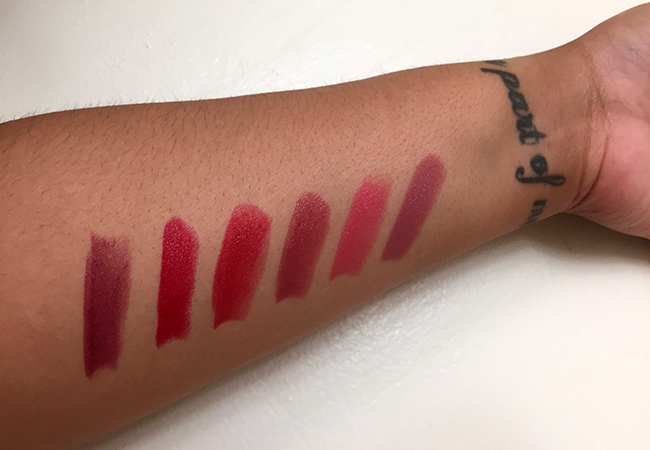 Shades from left to right: Rouge Rum Punch, Ruby Copper (my fave), Toffee Apple, Red Queen, Coral Shore, and Sweet Desire