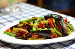 Eggplant and sword beans with hunanese bacon