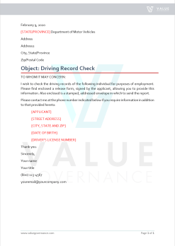 Driving Record Check Letter