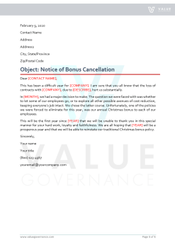 Notice to Employees of Bonus Cancellation