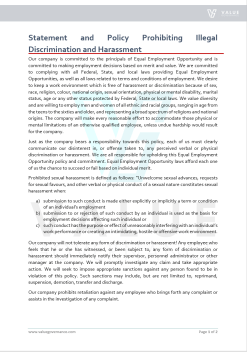 Statement and Policy Prohibiting Illegal Discrimination and Harassment